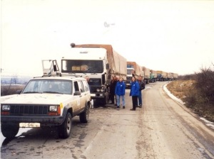 A humanitarian aid convoy in Kosovo, Winter 1999. Note the snow on the ground, and the armored Jeep convoy escort.